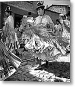 Bolivian Dance Framed Black And White Metal Print