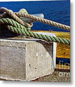 Bollard Closeup - Ropes - Mooring Lines - Wharf Metal Print