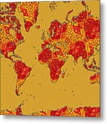 Bollywood Colors Awesome Paisley World Map Metal Print
