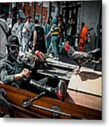 Bone Man And Rooster In Coffin Car On Mardi Gras In New Orleans Metal Print