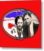Bonnie And Clyde Close-up Detail Of Larger Image C. 1933-2013 Metal Print