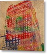 Book Cadillac Iconic Buildings Of Detroit Watercolor On Worn Canvas Series Number 3 Metal Print by Design Turnpike