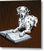 Book worm...Dog Art Painting Metal Print