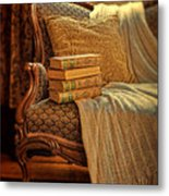 Books On Victorian Sofa Metal Print