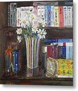 Bookworm Bookshelf Still Life Metal Print