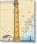 Boon Island Lighthouse Me Chart Art Cathy Peek Metal Print