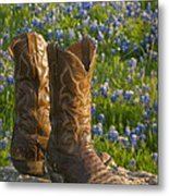 Boots And Bluebonnets Metal Print