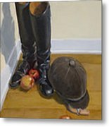 Boots Apples And Hard Hat Metal Print