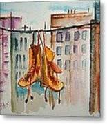 Boots On A Wire Metal Print