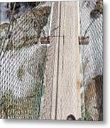 Boots On Narrow Swing Bridge Over White Water Metal Print
