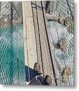 Boots On Swing Bridge Over Troubled White Water Metal Print