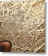 Boots On Wood Metal Print