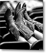 Boots Up - Bw Metal Print