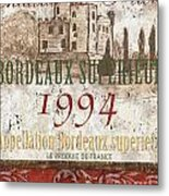 Bordeaux Blanc Label 2 Metal Print