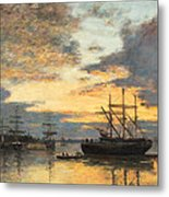 Bordeaux In The Harbor Metal Print