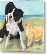 Border Collie Dog Orange Tabby Cat Art Metal Print