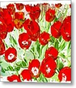 Bordered Red Tulips Metal Print