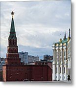 Borovitskaya Tower Of Moscow Kremlin - Square Metal Print