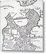 Boston And Bunker Hill 1781 Metal Print by American School