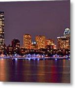 Boston Back Bay Skyline At Night Color Panorama Metal Print