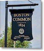 Boston Common Park Sign, Boston, Ma Metal Print