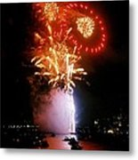 Boston Fireworks  Rings And Pinwheels Metal Print