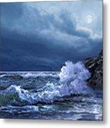 Boston Harbor Lighthouse Moonlight Scene Metal Print