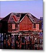 Boston Harbor Pier Dwelling Metal Print