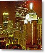 Boston Massachusetts Night Scene Digital Art Metal Print