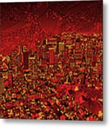 Boston Panorama Red Metal Print