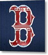 Boston Red Sox Logo Letter B Baseball Team Vintage License Plate Art Metal Print by Design Turnpike