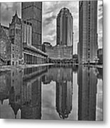 Boston Reflections Bw Metal Print