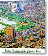 Boston Rooftops And The Charles River Metal Print