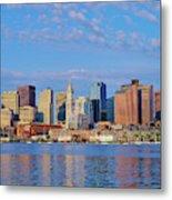 Boston Skyline And Harbor, Massachusetts Metal Print