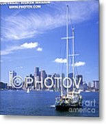 Boston Skyline And Sailboat - Massachusetts - Limited Edition Metal Print