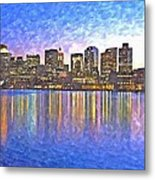 Boston Skyline By Night Metal Print