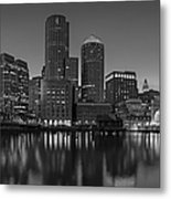 Boston Skyline Seaport District Bw Metal Print
