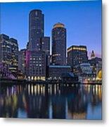 Boston Skyline Seaport District Metal Print