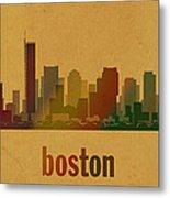 Boston Skyline Watercolor On Parchment Metal Print