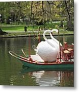 Boston Swan Boats Metal Print by Barbara McDevitt