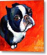 Boston Terrier Dog Painting Prints Metal Print