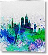 Boston Watercolor Skyline Metal Print