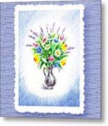 Botanical Impressionism Watercolor Bouquet Metal Print