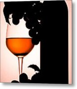 Bottle And Wine Glass Metal Print