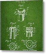 Bottle Cap Fastener Patent Drawing From 1907 - Green Metal Print