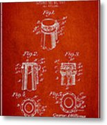Bottle Cap Fastener Patent Drawing From 1907 - Red Metal Print