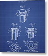 Bottle Cap Fastener Patent From 1907- Blueprint Metal Print