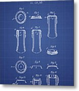 Bottle Cap Patent 1899- Blueprint Metal Print