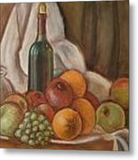 Bottle Of Bordeaux With Fruits Metal Print