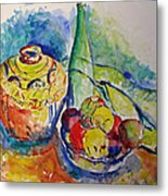 Bottle With Fruits Metal Print